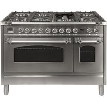 Nostalgie 48 Inch Dual Fuel Liquid Propane Freestanding Range in Stainless Steel with Chrome Trim