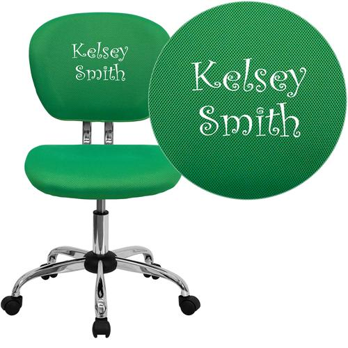 Embroidered Mid-Back Bright Green Mesh Swivel Task Chair with Chrome Base