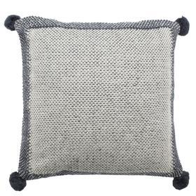 Dania Knit Pillow - Dark Grey / Natural / Silver
