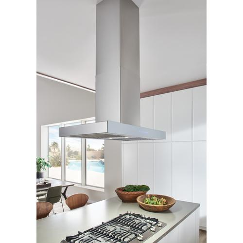 BEST Range Hoods - 36-inch Island Range Hood, 650 Max Blower CFM, Stainless Steel, Brushed Grey Glass (ICB3 Series)
