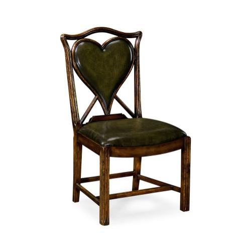 "Playing card ""Heart"" side chair with medium English library green leather"