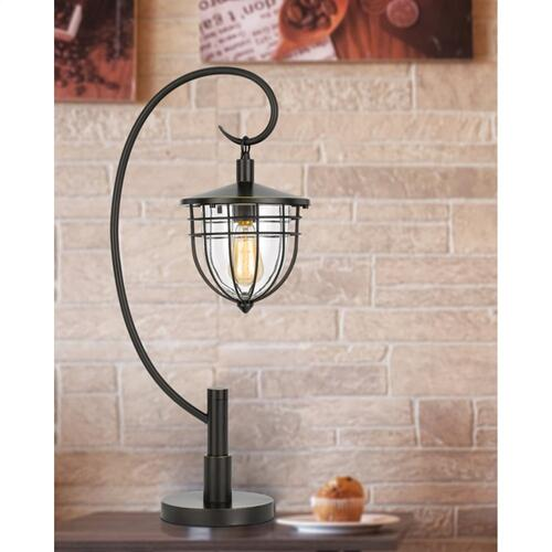 60W Alma metal/glass downbridge lantern style table lamp (Edison bulb included)