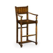 Planked walnut barstool with baluster legs (Arm)
