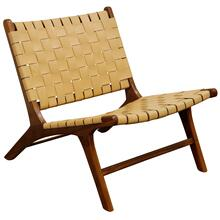 Charles Lounge Chair  26in X 27in X 31in Retro Teak Wood & Genuine Woven Leather Seat & Seat Back