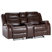 See Details - Avant Motion Rocking Reclining Loveseat with Power Console - Brown