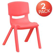 "2 Pack Red Plastic Stackable School Chair with 12"" Seat Height"