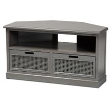 See Details - Baxton Studio Sheldon Modern and Contemporary Vintage Grey Finished Wood and Synthetic Rattan 2-Drawer Corner TV Stand