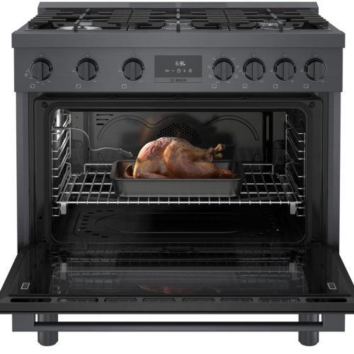 800 Series Dual Fuel Freestanding Range Black stainless steel HDS8645C