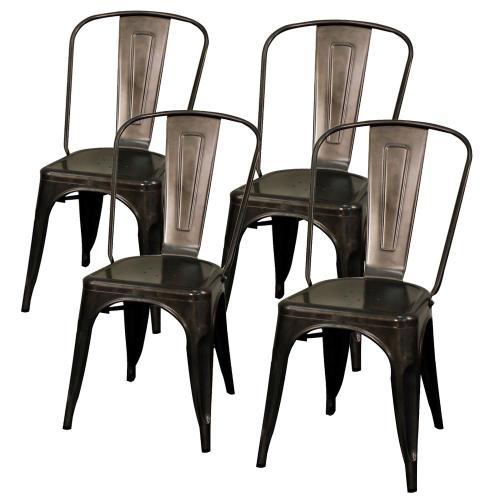 Metropolis Metal Side Chair, Gunmetal