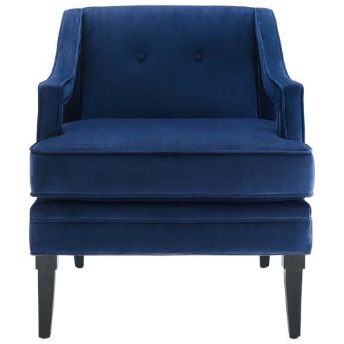 Concur Button Tufted Performance Velvet Armchair in Navy