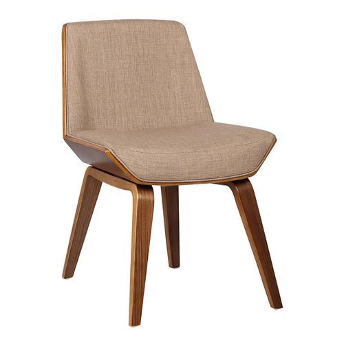 Armen Living Agi Mid-Century Dining Chair in Walnut Wood and Beige Fabric