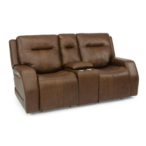 Duke Power Reclining Loveseat with Console & Power Headrests