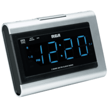 Dual wake clock radio with SmartSnooze and 1.4 inch blue display