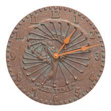 """See Details - Golfer 12"""" Indoor Outdoor Wall Clock - Copper Vedigris"""