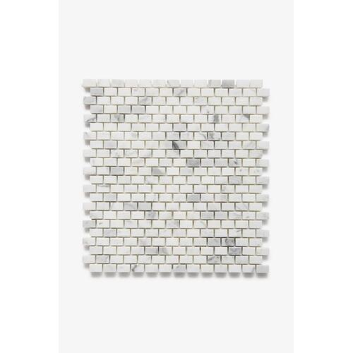 "Keystone 1/2"" x 3/4"" Staggered Mosaic in Calacatta Honed"