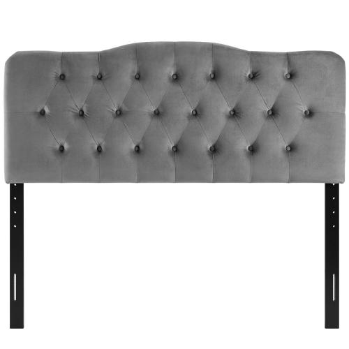 Annabel Full Diamond Tufted Performance Velvet Headboard in Gray