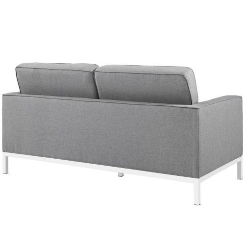 Loft Living Room Set Upholstered Fabric Set of 3 in Light Gray