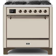 Majestic II 36 Inch Dual Fuel Liquid Propane Freestanding Range in Antique White with Bronze Trim