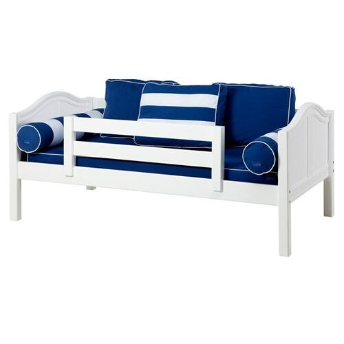 Daybed w/ Back and Front Safety Rails : Twin : White : Curved