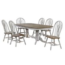 DLU-CG4296-124SGO7  7 Piece Double Pedestal Extendable Dining Table Set  Distressed Gray and Brown Wood