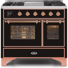 Majestic II 40 Inch Dual Fuel Liquid Propane Freestanding Range in Glossy Black with Copper Trim