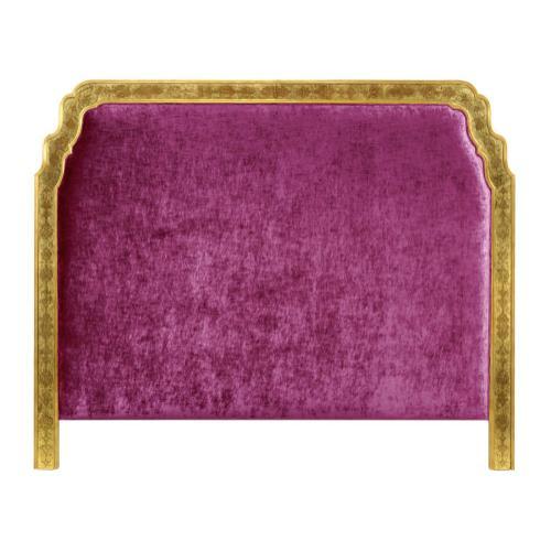 US King Gilded & glomise Headboard, Upholstered in Fuchsia Velvet