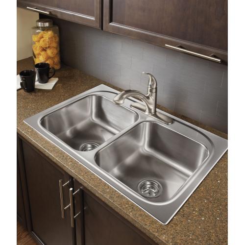 Integra Chrome one-handle low arc pullout kitchen faucet