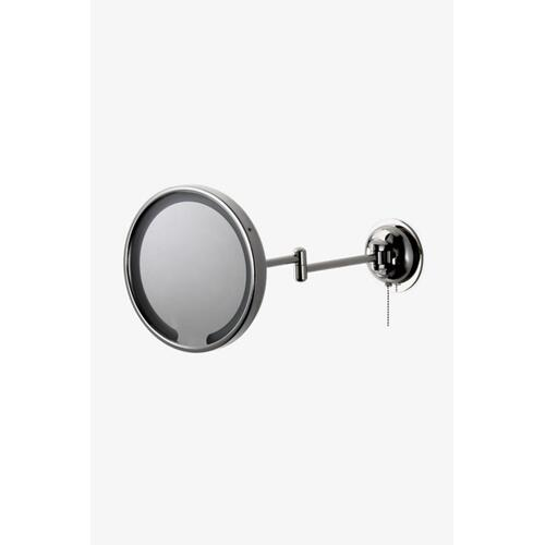 "Waterworks Wall Mounted 9 3/16"" dia. Magnifying and Illuminating LED Extension Mirror in Matte Nickel"