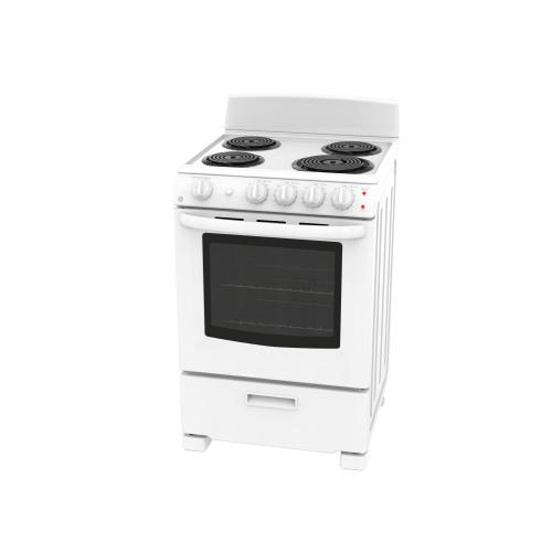 "GE 24"" Electric Freestanding Coil Range with Storage Drawer White - JCAS300DMWW"