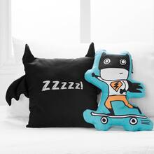 Superheroes Throw Pillows, 2- Pack - Black and Turquoise