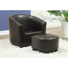 JUVENILE CHAIR - 2 PCS SET / DARK BROWN LEATHER-LOOK
