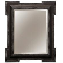 Weathered Charcoal Gray  Traditional  2-Step Crown Framed Mirror  Hangs Vertical or Horizontal