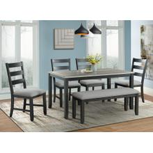 Martin Black Dining Set  Table, 4 chairs & bench       (DMT-3006-DS,75119)