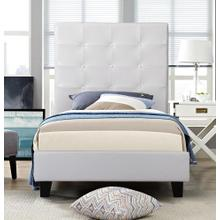 7597 WHITE Faux Leather Platform Bed - TWIN