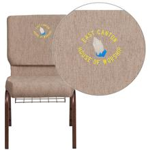 Embroidered HERCULES Series 18.5''W Beige Fabric Church Chair with 4.25'' Thick Seat, Book Rack - Copper Vein Frame