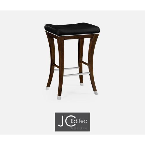 Counter stool in American walnut and black leather