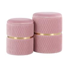 Cinch Nesting Ottoman Set - Gold Steel, Blush Pink Velvet