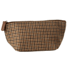 Brown Houndstooth Zip Pouch. Product Image
