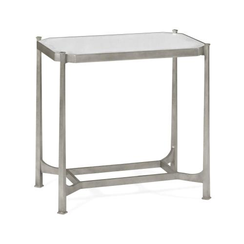 Silver rectangular side table