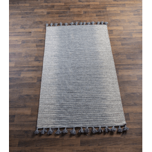 Natural & Staggered Grey Ombre 5' x 8' Rug with Tassels