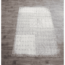 Block Print Grey Geometric & Floral 5' x 8' Rug (Each One Will Vary)