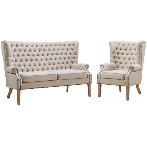 Tov Furniture - Abe Beige Linen Loveseat
