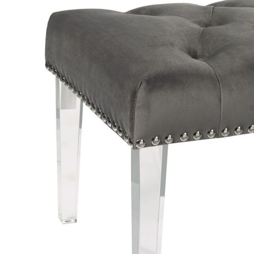 Button Tufted Upholstered Bed Bench in Luxor Flannel