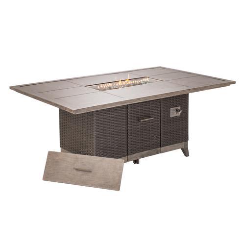 "Cedarbrook 72"" Rectangular Gas Fire Pit Dining Table"