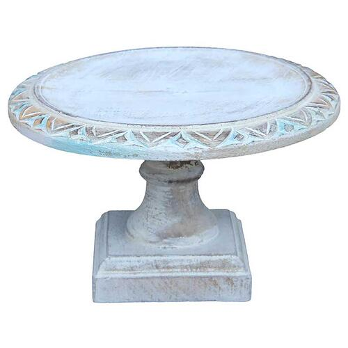 A & B Home - Wooden Footed Cake Stand