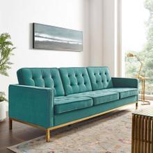 Loft Gold Stainless Steel Leg Performance Velvet Sofa in Gold Teal