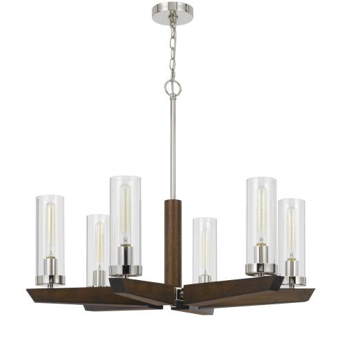 60W x 6 Ercolano pine wood/metal chandelier with clear glass shade (Edison bulbs NOT included)