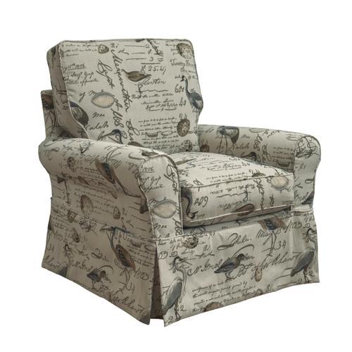 Horizon Slipcovered Box Cushion Swivel Rocking Chair - Bird Script - 854825