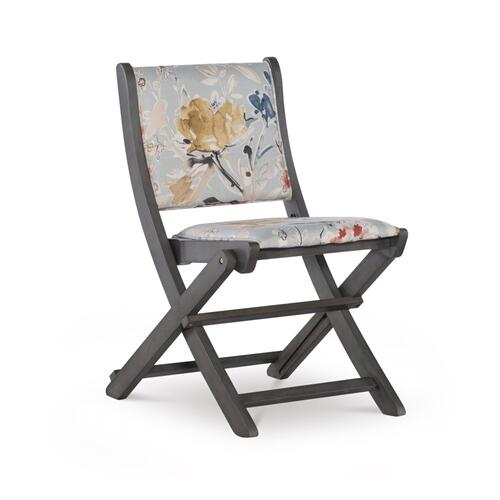 Floral Upholstery Fabric Folding Chair, Grey