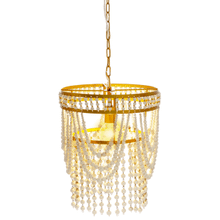 See Details - Gold & White Beaded Chandelier. 60W Max Watt. Hardwire Only.